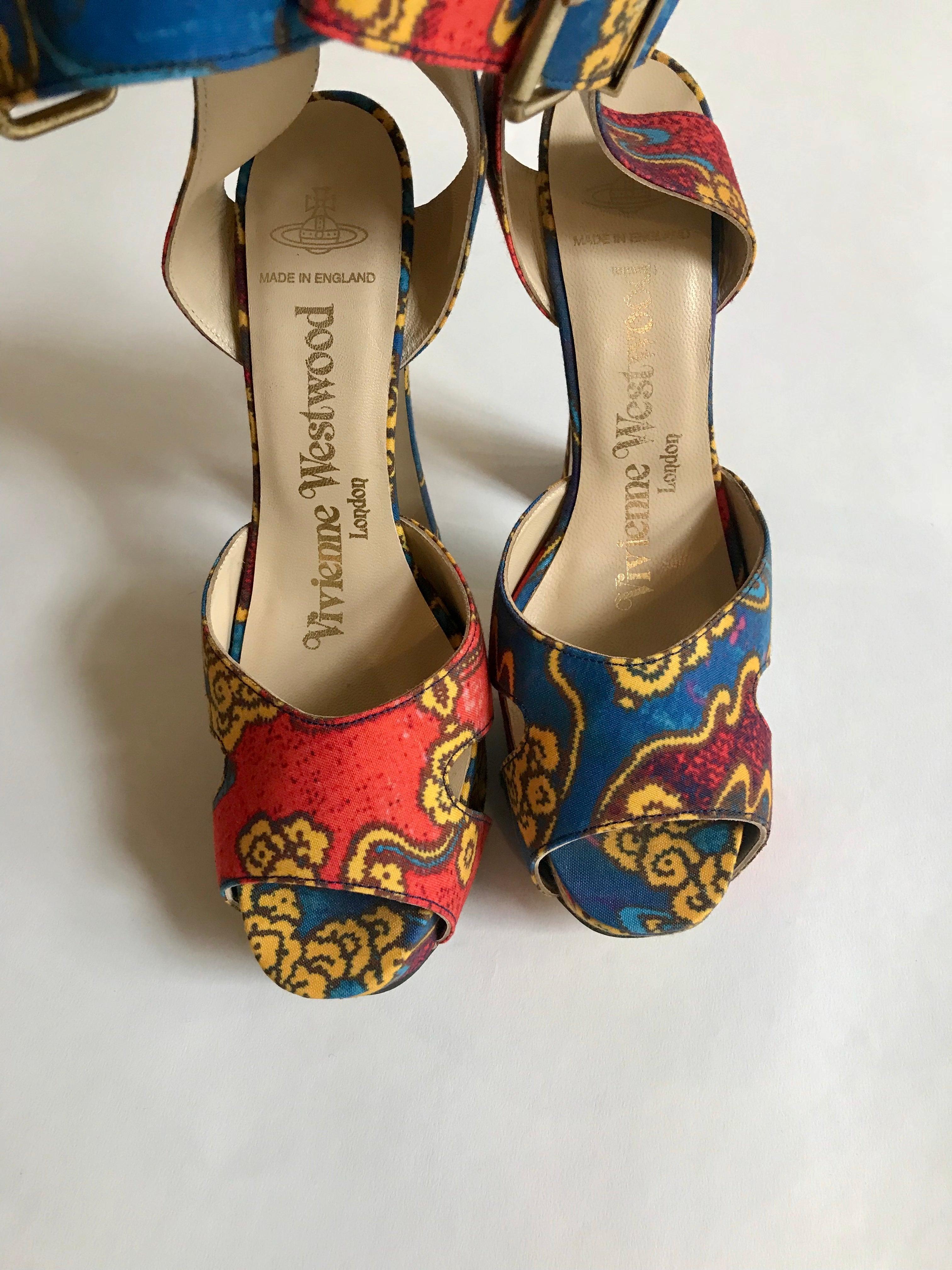 63f405265b6 Vivienne Westwood Tea Garden Print Blue Gold and Red Platform Sandals For  Sale at 1stdibs