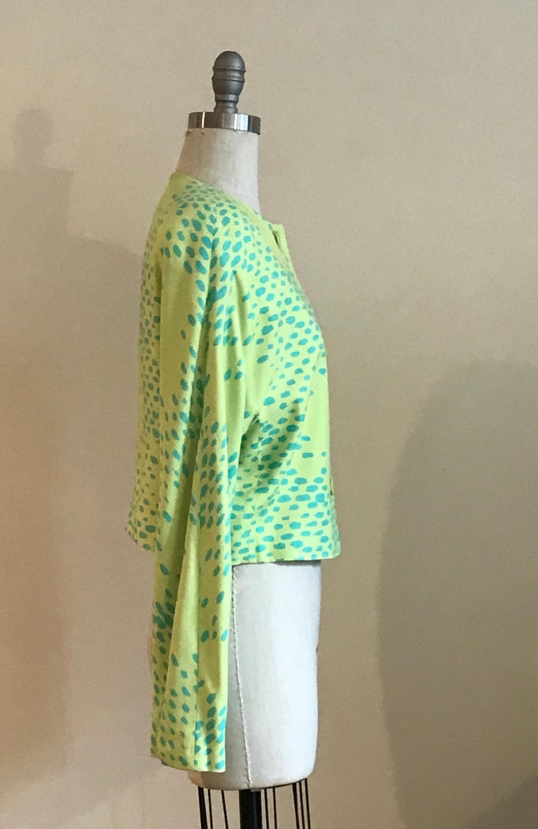 Green Stephen Sprouse Dayglo Yellow and Blue Spotted  Print Blazer Jacket, 1980s  For Sale
