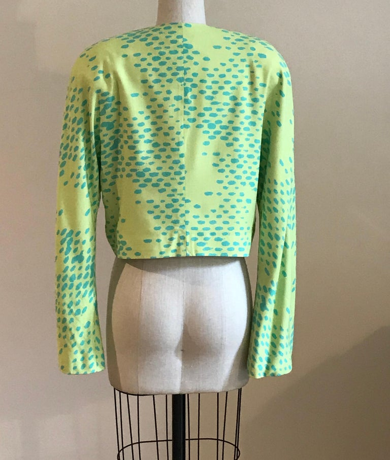Stephen Sprouse Dayglo Yellow and Blue Spotted  Print Blazer Jacket, 1980s  In Good Condition For Sale In San Francisco, CA