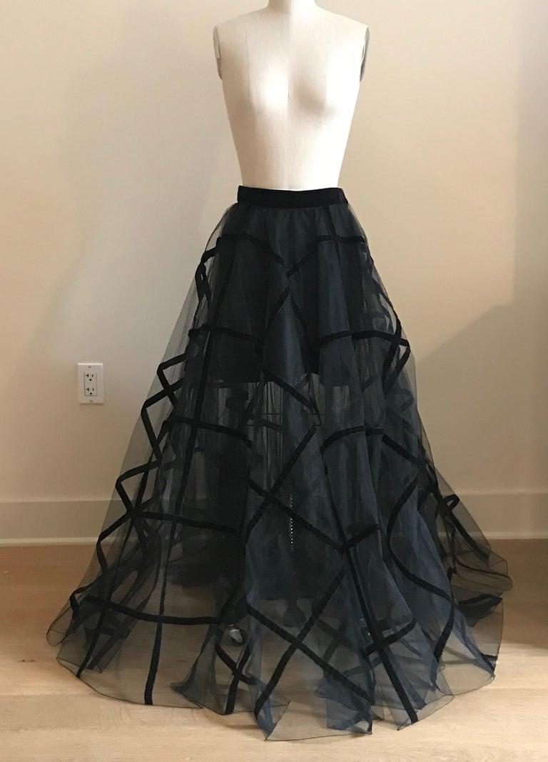 Yves Saint Laurent 1990s Rive Gauche Black Velvet Jacket Tulle Ball Skirt Suit For Sale 2