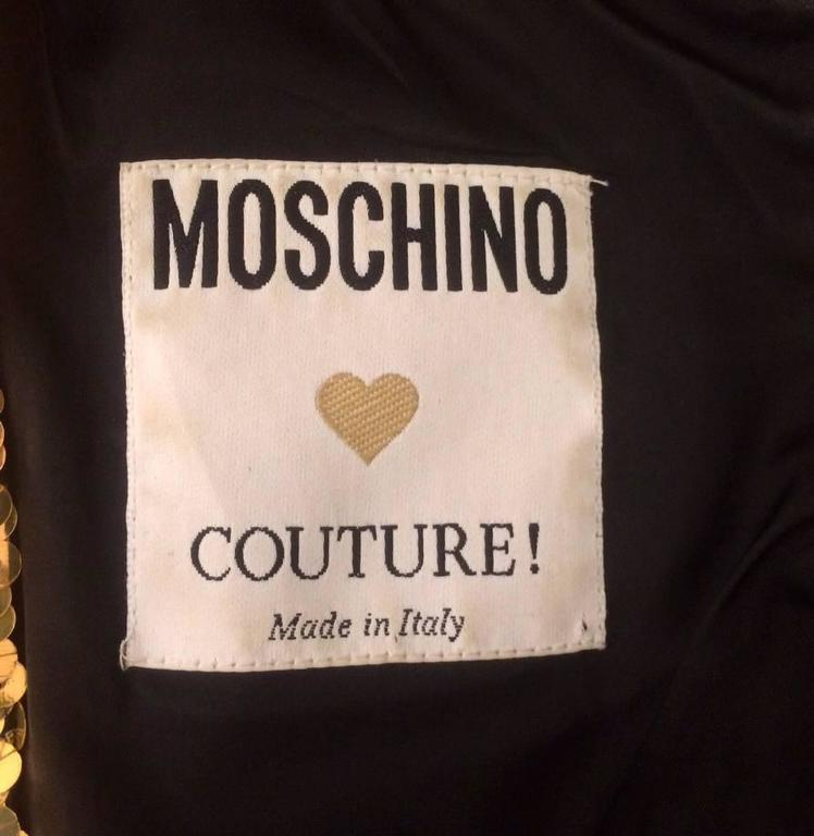 Moschino Couture! 1990s Black and Gold Sequin VIP Dress 3