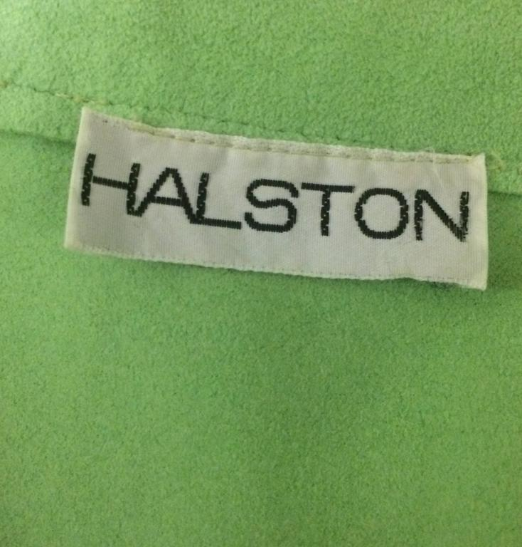 Gray Halston 1970s Mint Green Ultra-Suede Dress For Sale