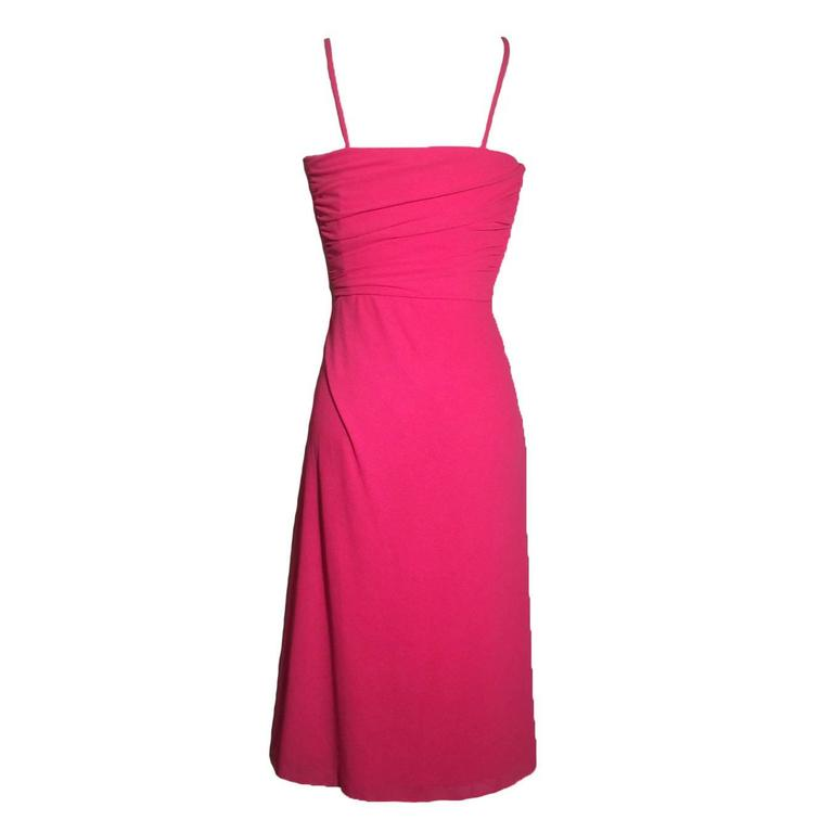 Frank Usher 1970s Hot Pink Cocktail Dress 2