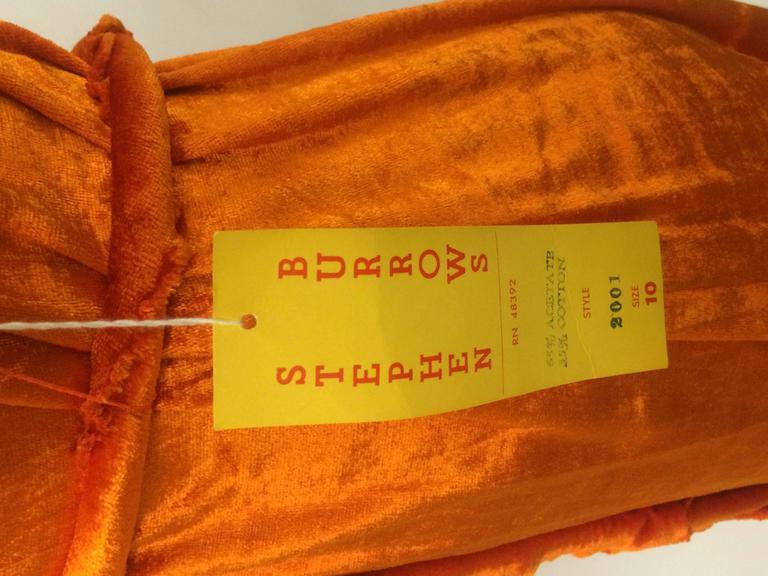 Brown Stephen Burrows 70s Orange Velour Hooded Robe Deadstock For Sale