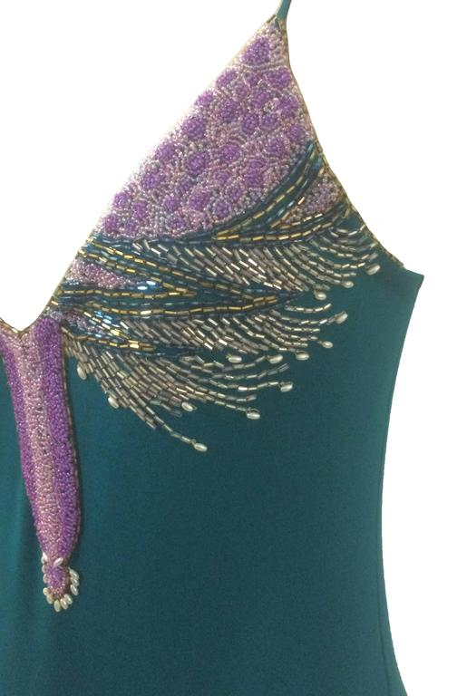 Stephen Burrows 70s Teal Beaded Assymetrical Jersey Dress  4