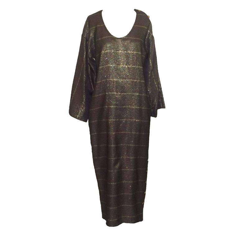 Geoffrey Beene 1980s Purple and Gold Metallic Caftan Kaftan Dress For Sale