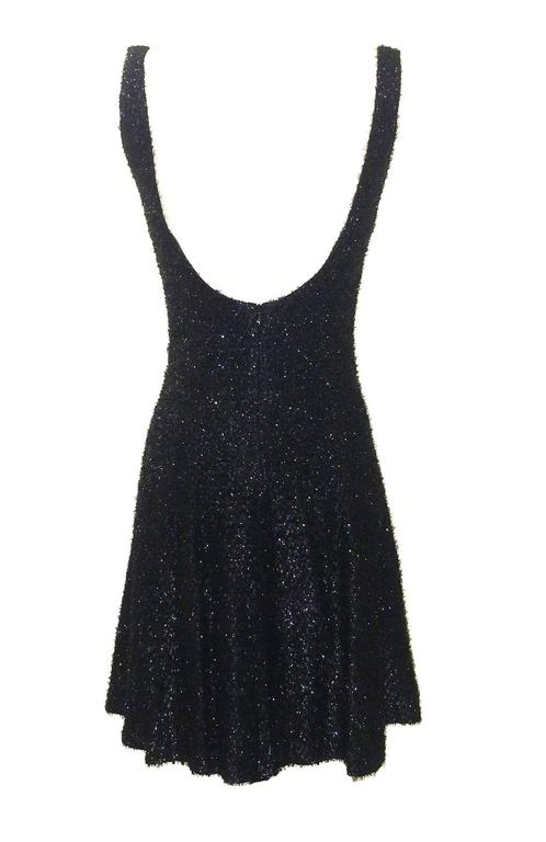 Stephen Sprouse 80s Sleeveless Black Backless Metallic Fringe Skater Dress 2