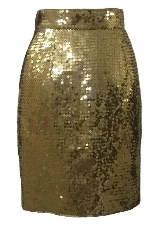 Moschino Couture! vintage early 90's gold sequin pencil skirt.