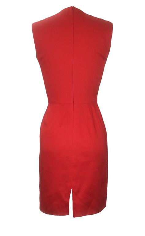 Stephen Sprouse 90s sleeveless pencil dress in tomato red. Back zip.  100% cotton. Fully lined in 100% acetate.  Made in Korea.  Size 4, fits like 0/2. Slight bit of stretch. Bust 33