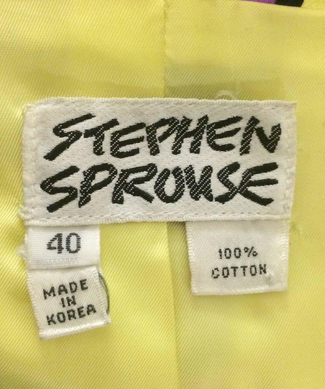 Black Stephen Sprouse Vintage 1988 Hardcore Band Sticker Blazer Jacket  For Sale