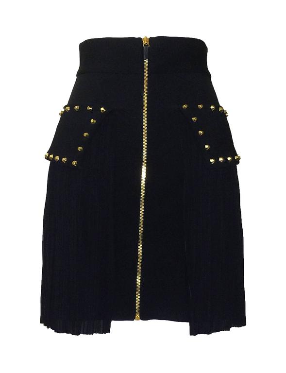 Versace New with Tags Black Pencil Skirt with Pleated Overlay and Gold Studs 2