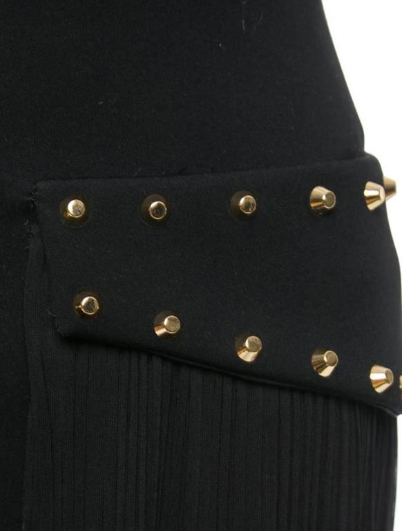 Versace New with Tags Black Pencil Skirt with Pleated Overlay and Gold Studs 3