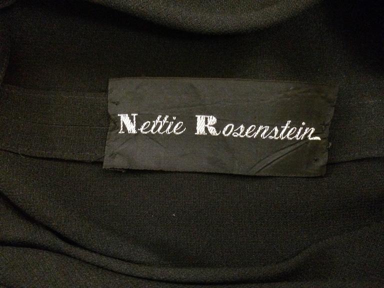 Women's Nettie Rosenstein 1940's Black Crepe Evening Dress with Bow Back For Sale