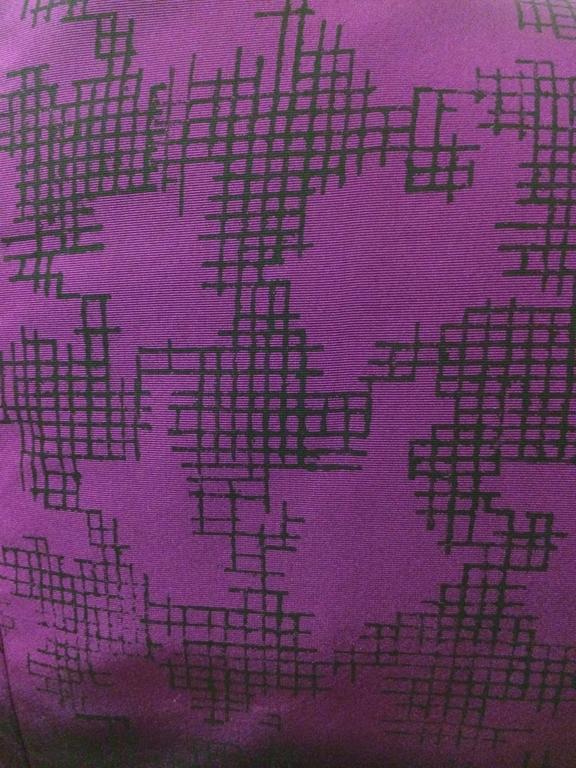 Black Oscar de la Renta Purple Ombre Houndstooth Check Silk Cocktail Dress For Sale
