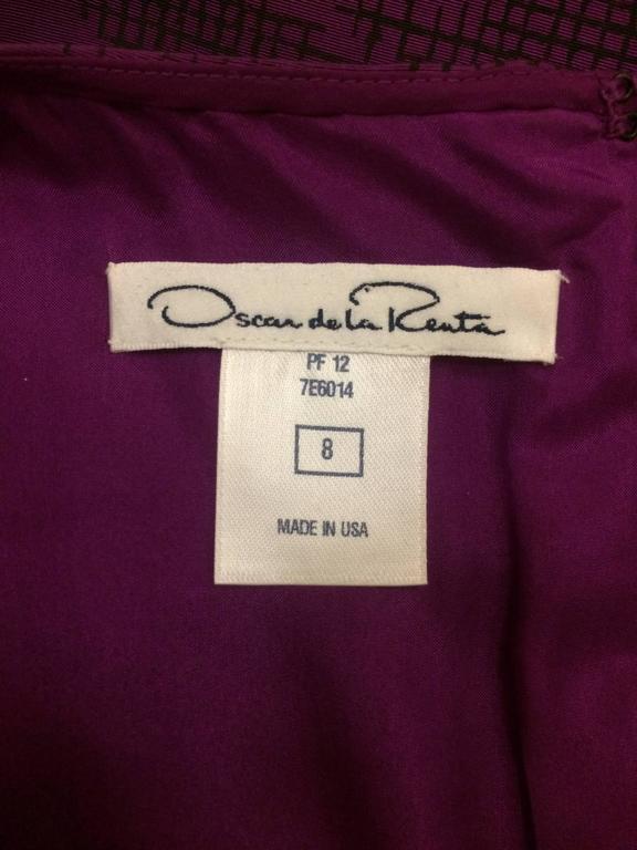 Oscar de la Renta Purple Ombre Houndstooth Check Silk Cocktail Dress In Excellent Condition For Sale In San Francisco, CA