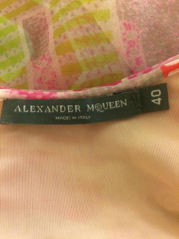 Alexander McQueen Spring 2004 Patchwork Print Pink Silk Tank 3