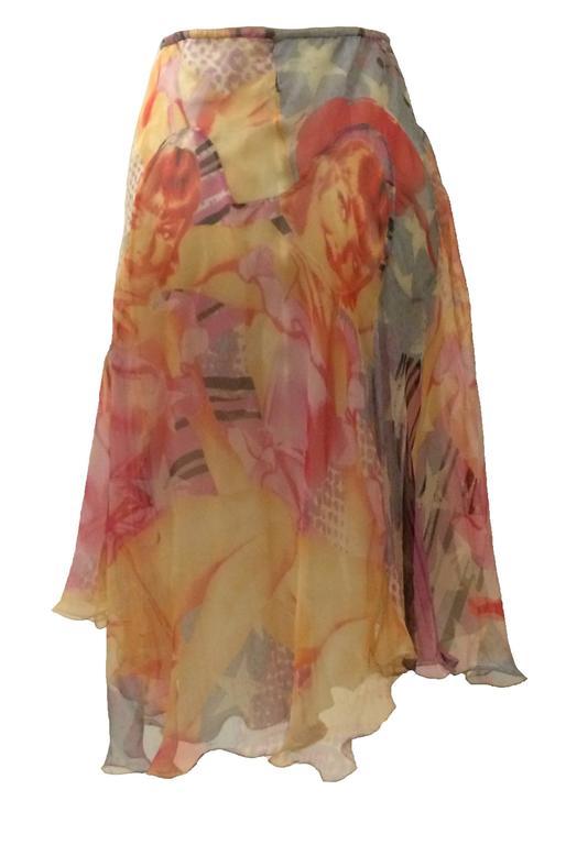 Alexander McQueen 2003 Multi Color Blonde Girl Print Silk Skirt 2