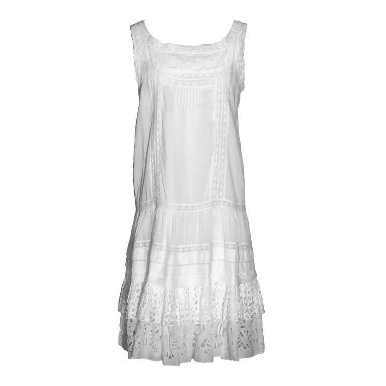 Oscar de la Renta White Cotton Eyelet Lace Sun Dress, Spring 2010