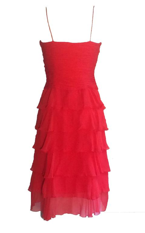 Oscar de la Renta for Neiman Marcus 1990's red silk chiffon dress with spaghetti straps, ruched bodice, and tiered ruffle skirt. Hidden side zip.  No content label, feels like silk. Fully lined.  Made in USA.  Size 4 US. Runs slightly small, see