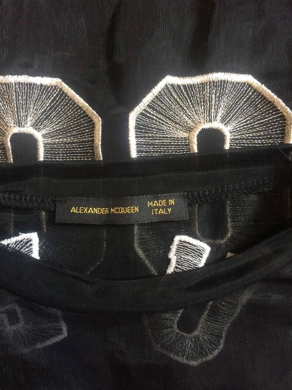 Women's Alexander McQueen 2000 Black Star and Moon Mesh McQueen 00 T-Shirt  For Sale