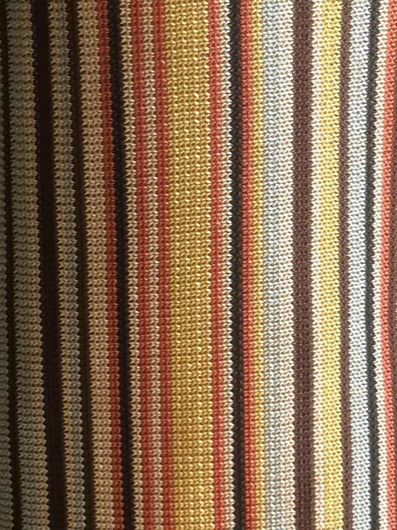 Brown Hermes Paris Golden Yellow & Orange Sleeveless Striped Scarf Sweater  For Sale