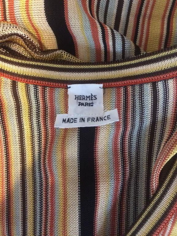 Hermes Paris Golden Yellow & Orange Sleeveless Striped Scarf Sweater  In Good Condition For Sale In San Francisco, CA