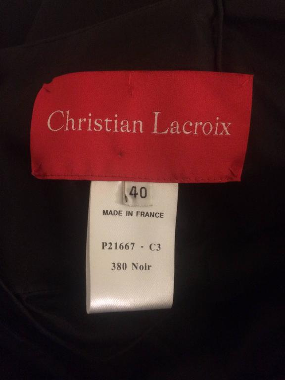 Christian Lacroix Black Draped Bubble Cocktail Dress with Silver Sequin Trim In Excellent Condition For Sale In San Francisco, CA