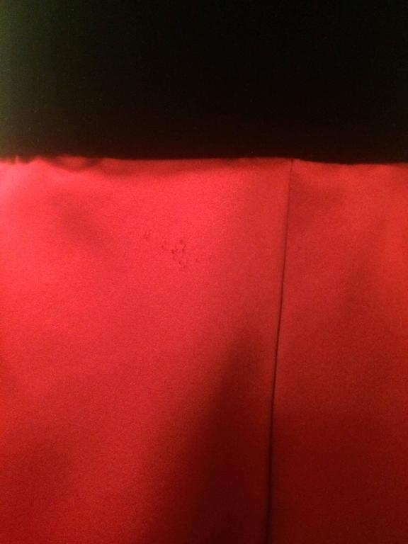 Oscar de la Renta Vintage 1990s Black Velvet Red Satin Ball Gown Evening Gown 4