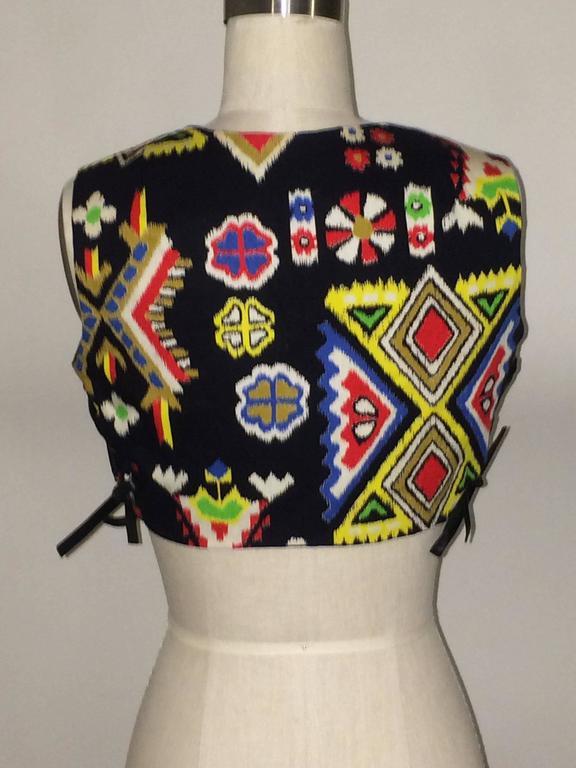 Oscar de la Renta Boutique Vintage 1970s Cropped Ethnic Print Vest 2