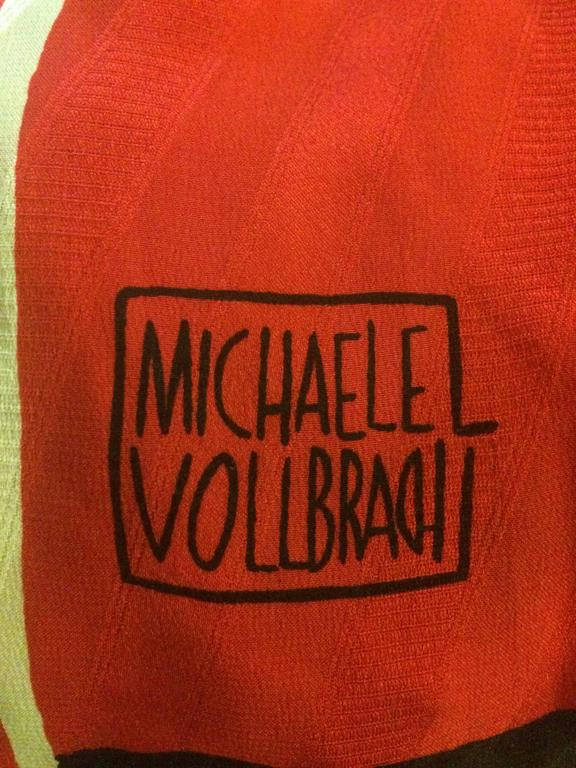 Michaele Vollbracht Red Yellow Black Silk Man in Sombrero Maxi Skirt, 1980s  In Good Condition For Sale In San Francisco, CA