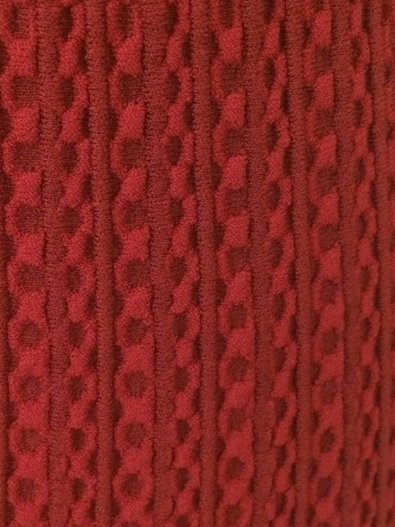 Alaia Recent Red Knit Straight Pencil Skirt New with Tags Scalloped Hem  In New Never_worn Condition For Sale In San Francisco, CA