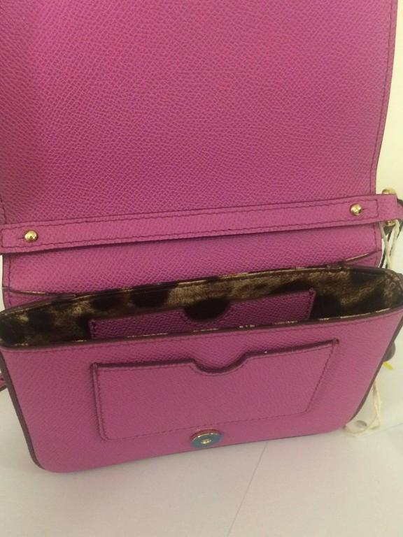Dolce & Gabbana New with Tags Purple Pink Leather Cross Body Purse Bag  In New Condition For Sale In San Francisco, CA