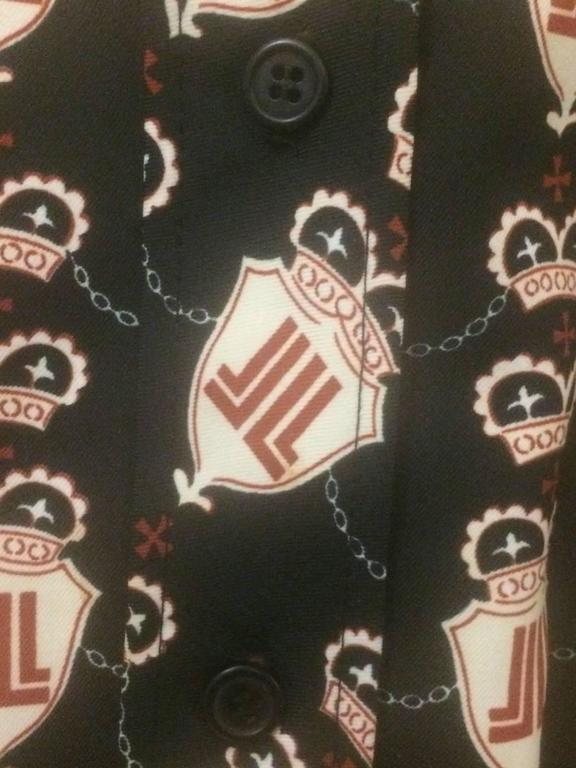 Lanvin Vintage 1960s Navy Crown and Shield JL Logo Belted Shirt Dress 5