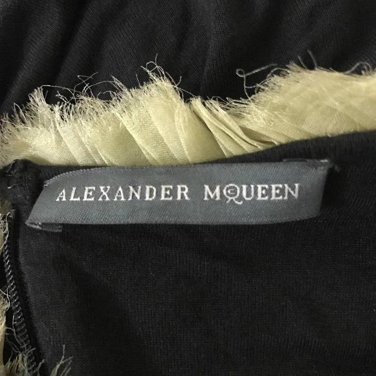 Women's Alexander McQueen Black Jersey Dress with Ombre Organza Swirls at Top, 2010   For Sale