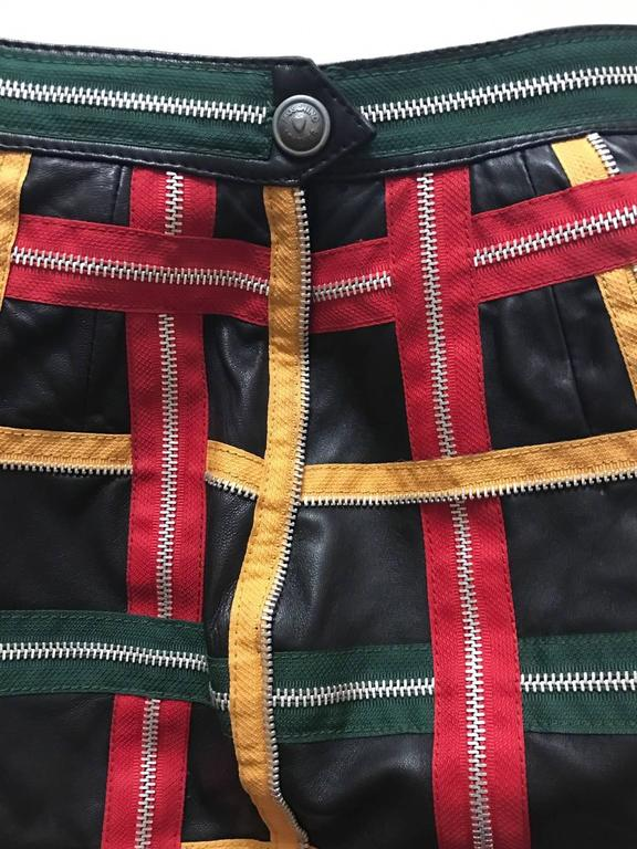 Moschino Vintage 1980s Black Leather Mini Skirt with Red Yellow Green Zippers 5
