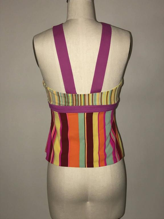 "Gianni Versace Couture 1990s multi color striped tank top with magenta colored harness halter detail. Side zip.   93% silk, 7% elastane. Fully lined.  Made in Italy  Size IT 42, US 6, fits more like modern 2, see measurements. Bust 29"". Waist"