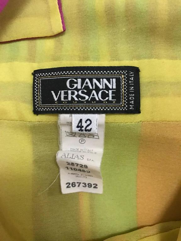 Gianni Versace Couture 1990s Multicolor Striped Silk Halter Tank Top  In Excellent Condition For Sale In San Francisco, CA