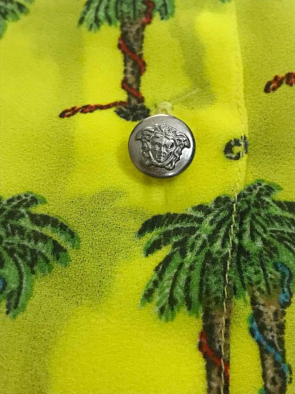 Versace Jeans Couture 1990s Yellow Palm Tree Print Blouse Shirt 3