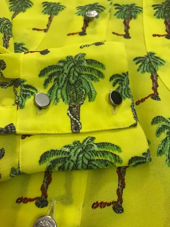 Versace Jeans Couture 1990s Yellow Palm Tree Print Blouse Shirt 5