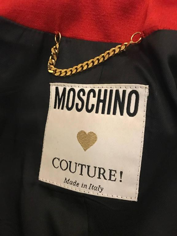 Moschino Couture 1990s Red Skirt Jacket Suit with Velvet and Lace Ruffle Flounce 5