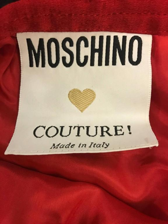 Moschino Couture 1990s Red Skirt Jacket Suit with Velvet and Lace Ruffle Flounce 6