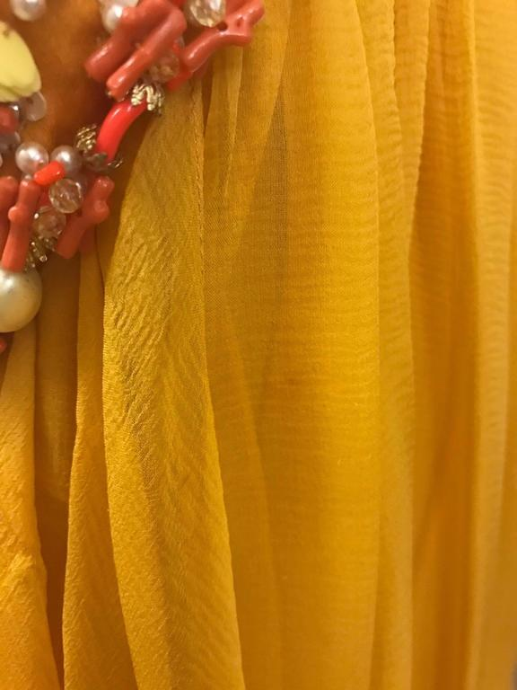 Christian Dior Resort 2009 Runway Marigold Yellow Orange Beaded Chiffon Gown 6