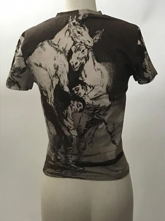 Alexander McQueen 1990s Goya Los Caprichos Etching Print Shirt T-Shirt Brown 2