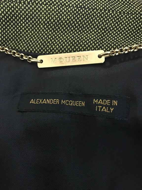 Alexander McQueen 2001 Runway Green and Black Belted Waistcoat Vest 4