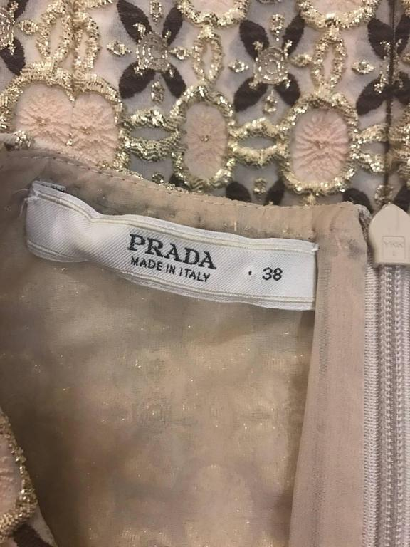 Prada Gold Beige and Pink Patterned Sleeveless Shell Top 4