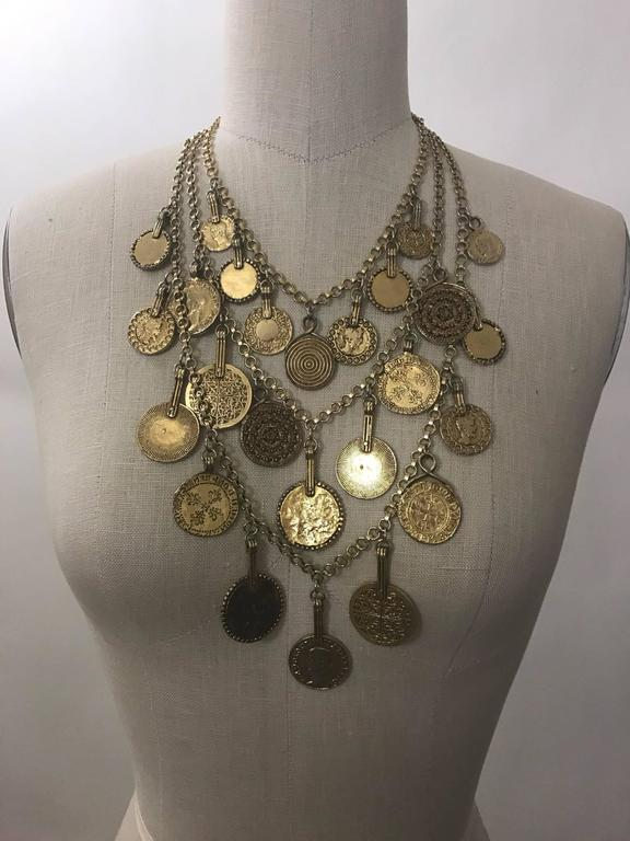Yves Saint Laurent 1977 Gypsy Collection Gold Tone Coin Medallion Necklace 2