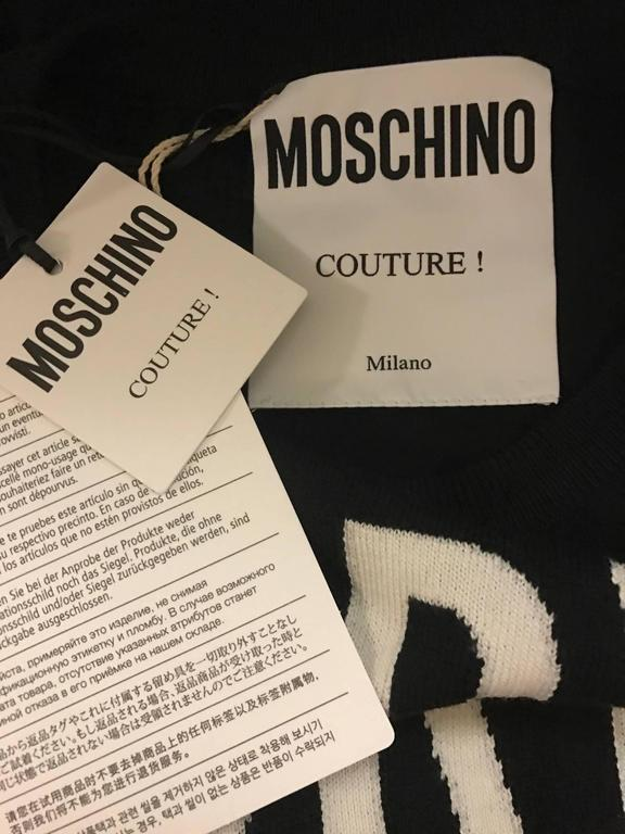 Moschino Couture New with Tags Black and White Dry Clean Only Sweater 4