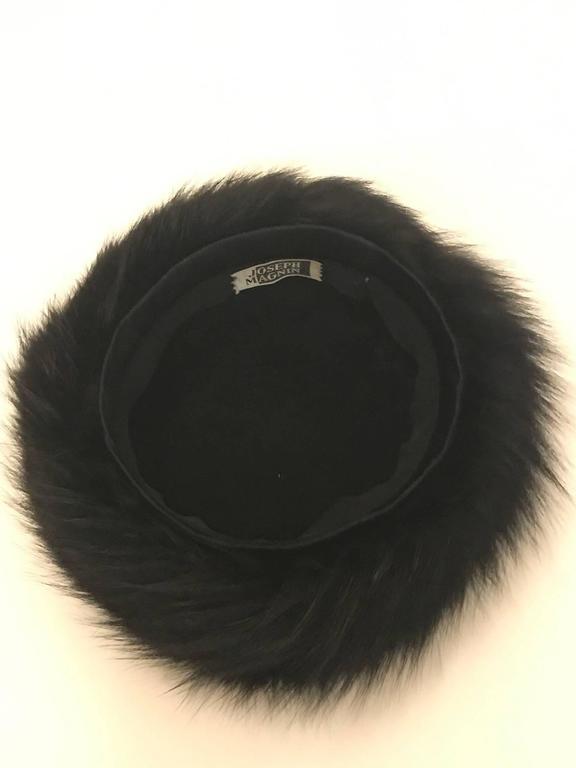 Joseph Magnin Black Fox Fur Felt Pill Box Hat, 1960s  In Excellent Condition For Sale In San Francisco, CA
