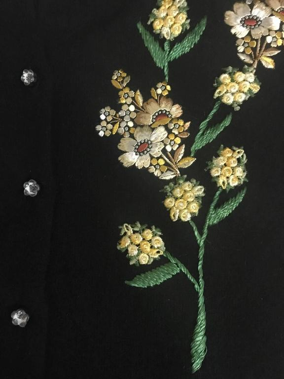 Schiaparelli 1960s Black Flower Button Yellow Floral Appliqué Cardigan Sweater 3