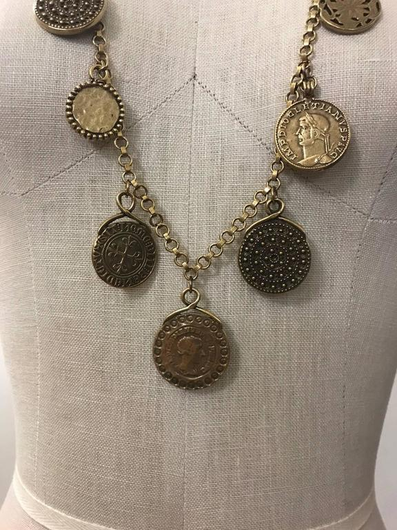 Yves Saint Laurent 1977 Gypsy Coin Medallian Gold Tone Necklace Single Strand 3